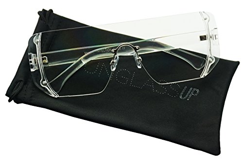 Futuristic Full Shield Goggle Semi-Rimless Square Transparent Flat Retro Glasses (Clear, - Glasses Square Semi Rimless