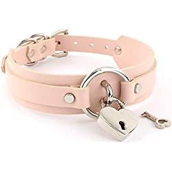 Handmade Heart Lock O Ring Thick Faux Leather Choker Collar Necklace (Rose with Silver Alloy)