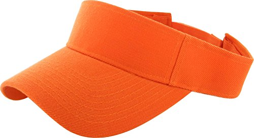 DealStock Plain Men Women Sport Sun Visor One Size Cap (29+ Colors) Hot Orange,One Size