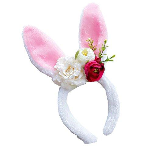 Floral Fall Rainbow Unicorn Horn Headband Girl Birthday Crown Headpiece DJ-03 (yIvory Rose Bunny) - Floral Bunny