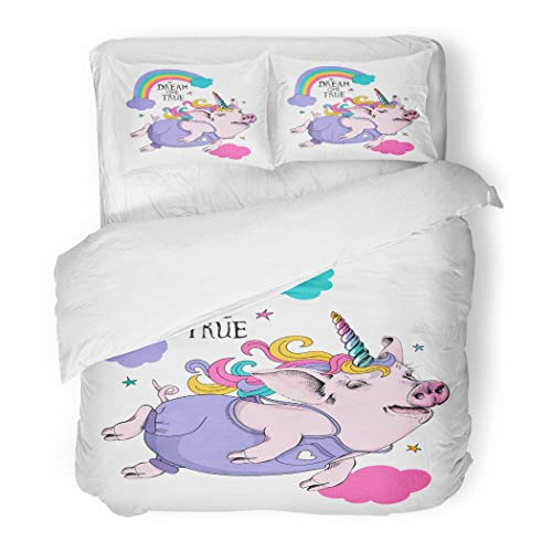Emvency Bedding Duvet Cover Set Cute Pig in Denim Unicorn Mask on Sky and Rainbow Dream Come True Lettering Quote Humor Composition 3 Piece Set with 2 Pillow Shams Queen -