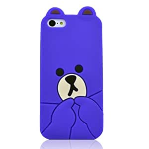HJX Purple iPhone 5C New Cute 3D Cartoon Lovely Bear Pattern Soft Silicone Case Protective Cover Skin for Apple iPhone 5C