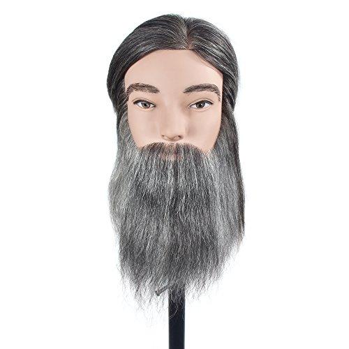 100% Human Hair Man Training Head Hair Mannequin Head Hairdressing Dummy Practice Training Mannequin Doll Head for Cutting with Free Clamp