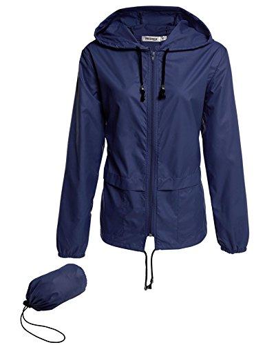 Cappotto Coorun Nuove Del Pioggia 3 Donne Bleu Lunga 320 Con Cappuccio Casuale Delle Di Manicotto Giacca WqPr4qX