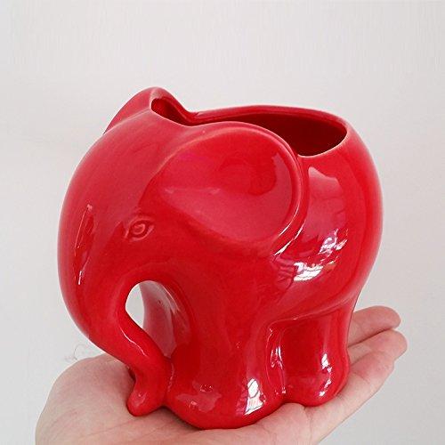 Youfui Ceramic Animal Flowerpot Succulent Plants Container Desk Mini Ornaments Red
