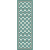 Tangier Moroccan Tile Aqua Easy-Care Indoor/Outdoor Runner Rug, 2.7 x 7