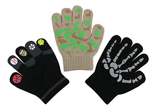 Price comparison product image N'Ice Caps Boys Magic Stretch Gloves 3 Pair Pack Assortment (Tan Camo/Black Skeleton/Black Sports Balls, 3-5 Years)