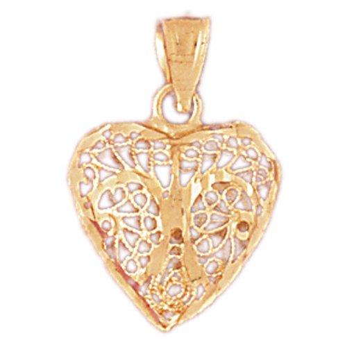 14k Yellow Gold 3-D Filigree Heart (14k Gold 3d Filigree)