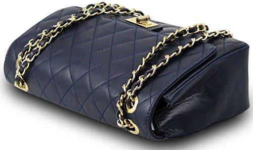 Bleu Foncé De Pour Clutch Luxe Cuir Nappa Chaîne Matelassé Femme Bella Italie Fabriqué En Bandoulière Sac vZ66wX