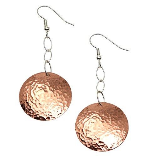Hammered Copper Disc Earrings By John S Brana Handmade Jewelry Durable Copper Earrings