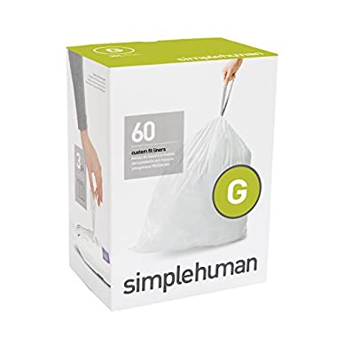 simplehuman code G custom fit liners, 3 refill packs (60 liners), Code G - 30L / 8 Gallon, White