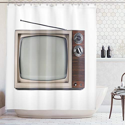 Ambesonne 1950s Decor Collection, Old Television with Antenna Broadcast Display Antique Electronics Tv Picture, Polyester Fabric Bathroom Shower Curtain, 75 Inches Long, Brown Beige