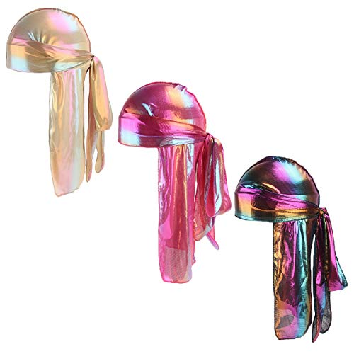 (Durio Durag for Women Men 360 Waves Mens Womens Durags Hip-Hop Du-Rag Long Tail Headwraps 3 Pack Purple & Gold & Rose Red One Size)