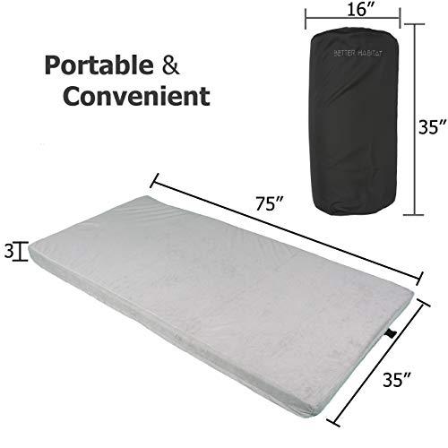 Better Habitat [New] SleepReady Memory Foam Floor Mattress (75 x 36 x 3). [Roll Out, Portable Sleeping pad w/Waterproof Cotton Terry Cover & Travel Bag]