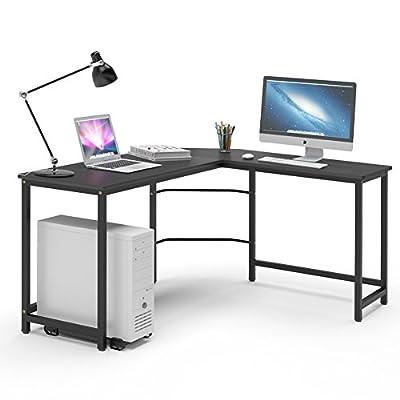 Modern L-Shaped Desk, LITTLE TREE Corner Computer Desk PC Latop Study Table Workstation Home Office Wood & Metal