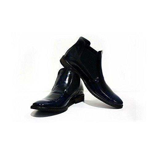 Italiano Palermo Brevetto Chelsea di Uomo da su Modello Blu Pelle Navy Stivali Scivolare in Pelle Handmade Vacchetta di wSdEUqR