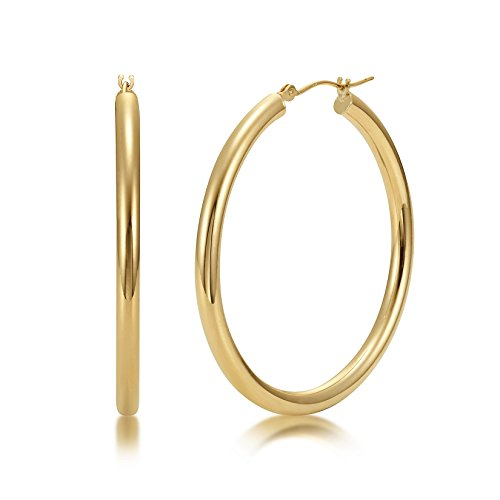 llow Gold 3mm x 40mm Click Top Tube Hoop Earrings - By Kezef Creations (Solid Gold Ear Care)
