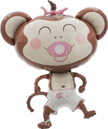 Northstar Balloons Baby Girl Monkey Helium Foil Balloon - 41 -