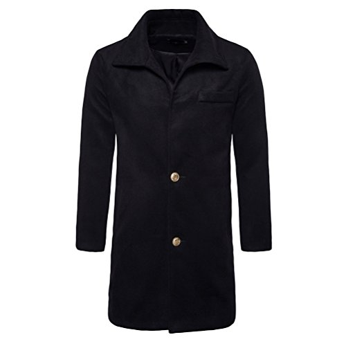Jacket Buttoned down Black Boys Collar Zhhlinyuan Windbreaker Overcoat Long Coat Blazer Turn Trench Soft Junior Mens Winter wXwq0PU
