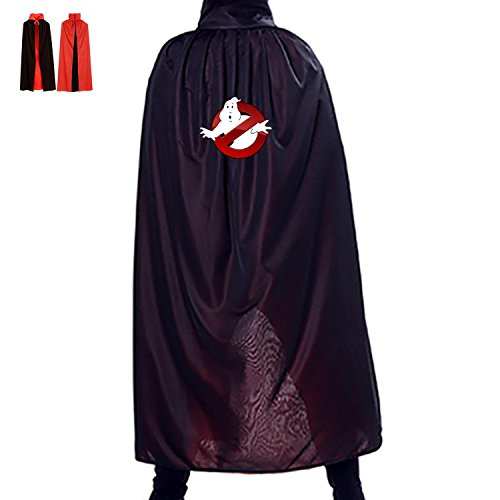 Halloween Witch Accessory Manteau Reversible Costumes Print With Ghost Logo For Children Cosplay In Film Premiere (Black)