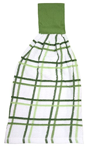RITZ KitchenWears 100% Cotton Terry Hanging Kitchen Tie Towel, Multi-Check, Cactus Green Check Dish Towel