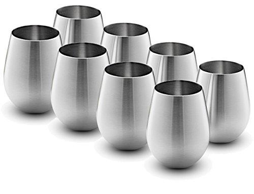 Stainless Steel Wine Glasses - Set of 8 Large & Elegant 18 Oz. Premium Grade 18/8 Stainless Steel Red & White Stemless Wine Glasses,
