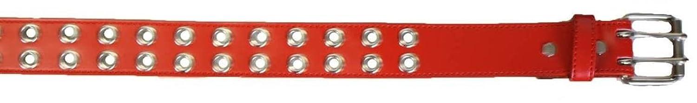 Faux Leather Belt Double Grommet holes 2 Prong Row Buckle Unisex Belt