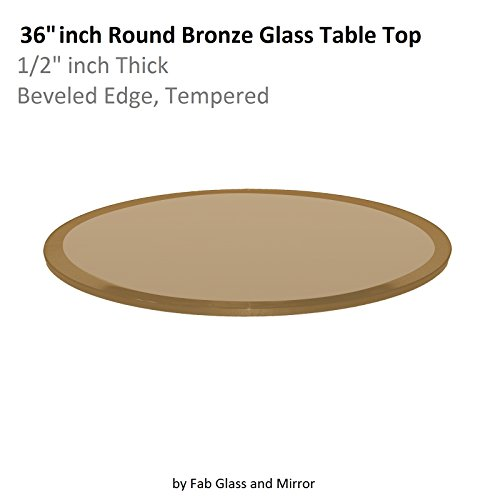 Fab Glass and Mirror Glass Table Top: 36'' Round 1/2'' Thick Beveled Tempered, Bronze by Fab Glass and Mirror