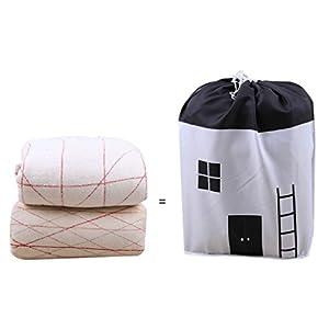 Storage Bag,Foldable Storage Bag Clothes Blanket Quilt Closet Sweater Organizer Box Pouches (Black) 94