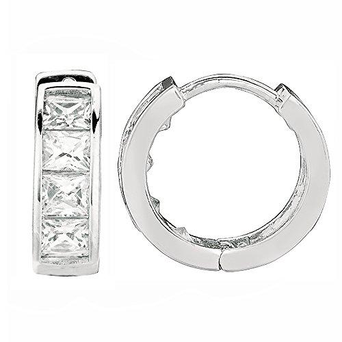 Sterling Silver Princess-cut Cubic Zirconia Huggy Hoops Huggies Hoop Earrings 4x12.2 Mm