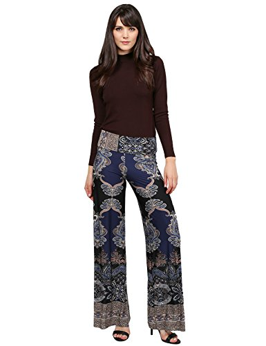 Soft Stretch Breathable Floral Stripe Palazzo Pants MADE IN USA Navy Mocha - Pants Cuffed Career