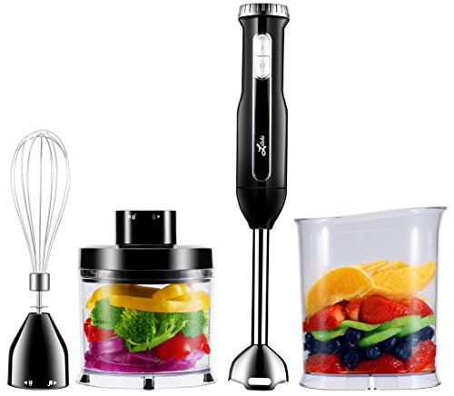 Litchi Powerful 4-In-1 Hand Blender Set, 300W Immersion Hand Blender Set with Stick Blender Shaft & Blades, Whisk, Mini Chopper, BPA-Free Blending Beaker, Black
