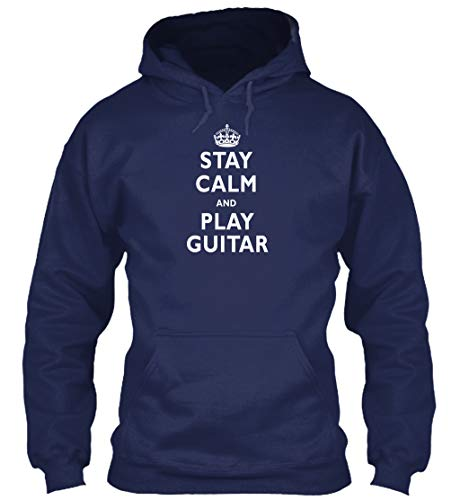 (Stay Calm and Play Guitar S - Navy Sweatshirt - Gildan 8oz Heavy Blend Hoodie)