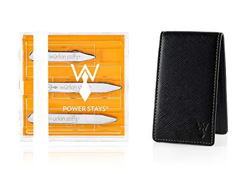 Wurkin Stiffs Assorted Size Power Stays Magnetic Collar Stays With Leather Travel Case by Wurkin Stiffs