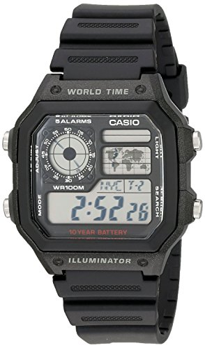 World Time 100m Watch - Casio Men's AE1200WH-1A World Time Multifunction Watch
