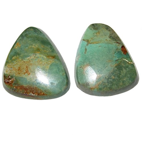 (SatinCrystals Turquoise Cabochon Collectible Pair of Rare Green Old Kingman Mine Gemstones Real American Made in USA Cabs C51 (1.1
