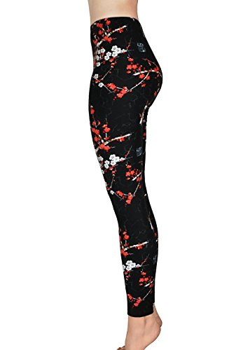 Comfy Yoga - Super Soft Printed Fashion Leggings - High Waist - Colorful Fun Prints (One Size, Cherry)