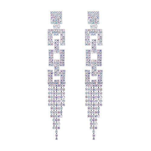 (FOCALOOK Sparkly Dangle Rhinestone Earrings Long Tassel Crystal Silver Plated Drop Earrings for Wedding)