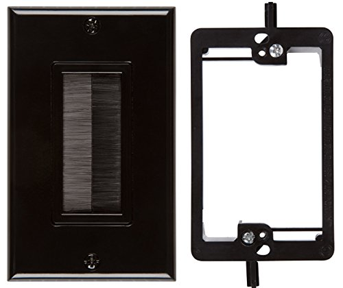 buyers-point-brush-wall-plate-with-single-gang-low-voltage-mounting-bracket-device-black-kit