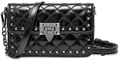 ハンドバッグ - 韓国バッグの女性の新しい女性のバッグレザーロンバスチェーンバッグショルダーバッグメッセンジャーバッグレディースバッグ、ブラック/ホワイト よくできた (Color : Black)