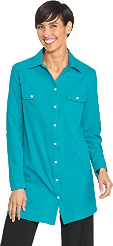 Coolibar UPF 50+ Women's Tunic Shirt - Sun Protective (XX-Large- Caribbean Sea)