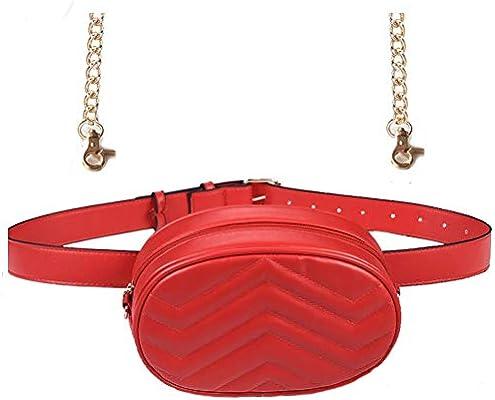 Women Waist Bag Fashion Belt Pack Round Fanny Pack Stylish PU Waist Pouch Adjustable Belt Chain Shoulder Bag (Red)