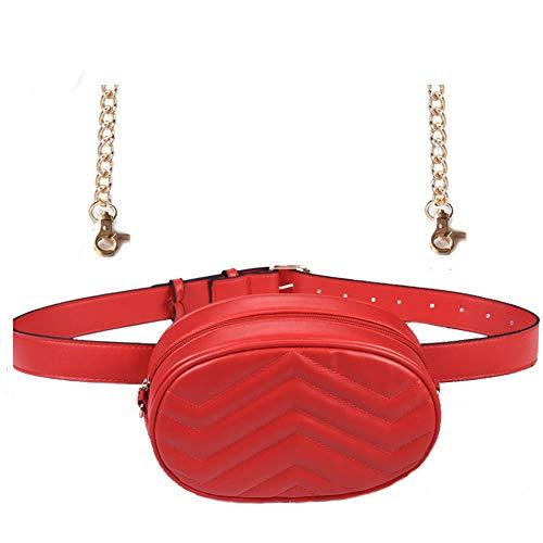 Women Waist Bag Fashion Belt Pack Round Fanny Pack Stylish PU Waist Pouch Adjustable Belt Chain Shoulder Bag ()