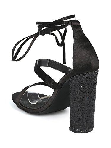 Sandalo Alrisco Donna Con Cinturino Alla Caviglia E Cinturino Glitter Glitter Sandalo Con Tacco - Hh22 By Mackin J Collection Black Satin