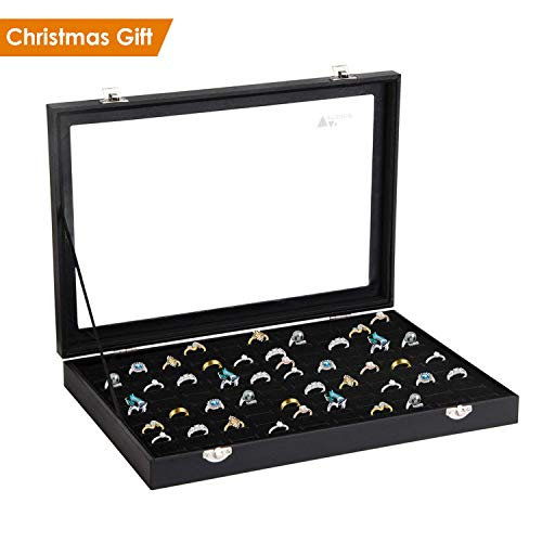 Showcase Display Gift Box - amzdeal Ring Box 100 Slots Ring Organizer Holder Jewelry Display Storage Collector Earring Showcase Ring Tray, Ideal Gift for Christmas, Black