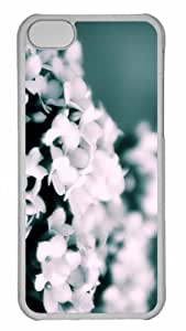 Customized iphone 5C PC Transparent Case - White Flowers Bokeh Personalized Cover