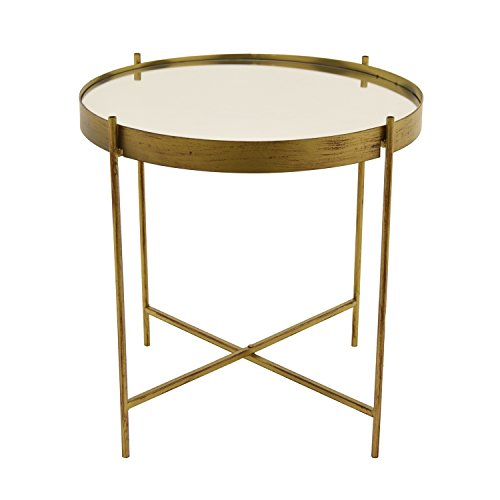 Three Hands Metal Mirrored Table Home Décor Accent, Gold