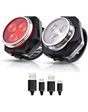 Hually LED Fietsver Lichting Set, USB Oplaadbare,4 Lichtmodi,Waterdichte Wit Fietslicht en Rood Achterlicht, 800mAh Batterij voor en Achterlicht Perfect voor Mountainbike of Racefiets