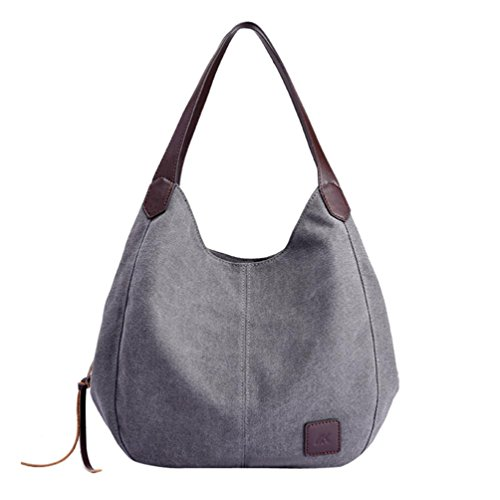 Clearance! Hot Sale! Women Handbag, Neartime Casual Canvas Satchels Vintage Female Versatile Single Shoulder Bags (❤️30cm(L)×13cm(W)×28cm(H), Gray)