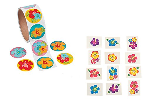 100 HIBISCUS Flower STICKERS & 72 Hibiscus Glitter TATTOOS/LUAU Party/TROPICAL/DECOR/Girl's (Hibiscus Flower Tattoos)